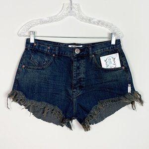 OneTeaspoon | hi rise cut off dark denim shorts